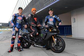 Lewis Hamilton, Yamaha R1, mit Michael van der Mark und Alex Lowes