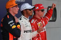Polesitter Lewis Hamilton, Mercedes AMG F1; 2. Kimi Raikkonen, Ferrari; 3. Max Verstappen, Red Bull Racing