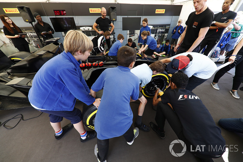 Children take part in a pit stop challenge