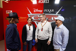 Ross Brawn, Managing Director of Motorsports, FOM, in the Cars 3 promotional garage, Actors Woody Harrelson and Owen Wilson