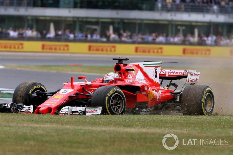 Себастьян Феттель, Ferrari SF70H, прокол
