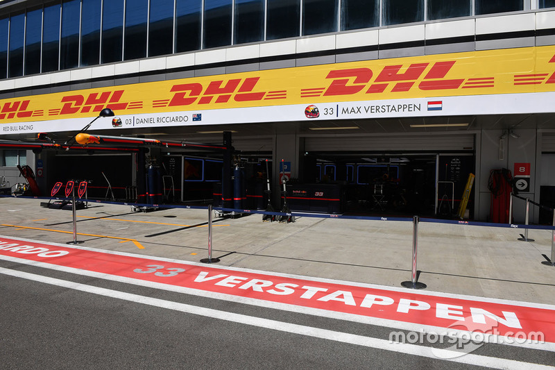 Max Verstappen, Red Bull Racing garage sign in the pitlane