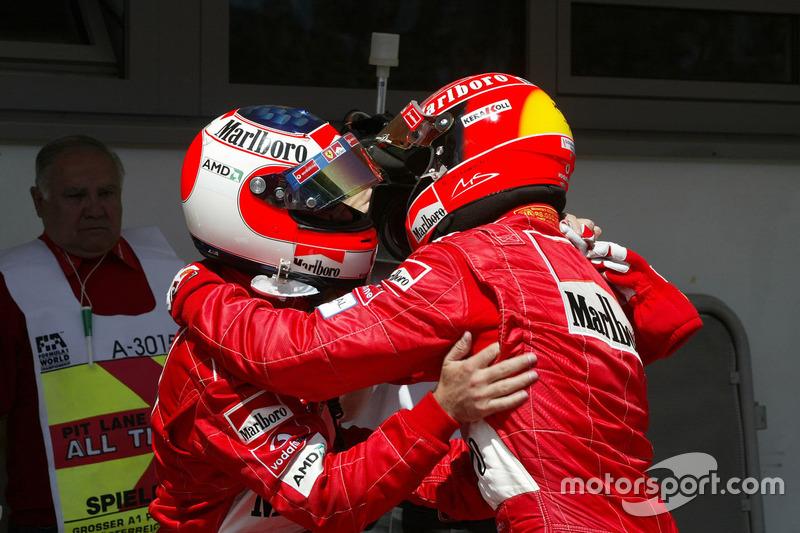Rubens Barrichello, Ferrari; Michael Schumacher, Ferrari