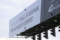 Signage thanking fans at the Williams 40th anniversary event