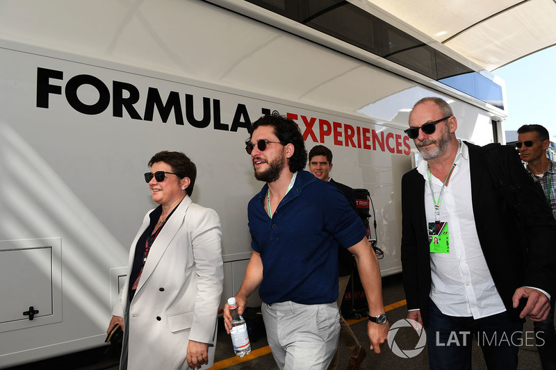 Kate Beavan, FOM, F1 Experiences 2-Seater passengers Kit Harington, Actor and Liam Cunningham, Actor