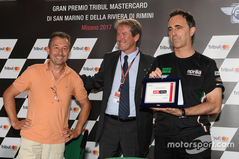 Giovanni Copioli, Presidente della Federazione Italiana del Motociclo nel 30esimo anniversario della prima vittoria dell'Aprilia Racing Team Gresini