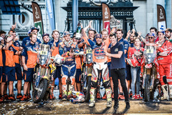 Winner #14 Red Bull KTM Factory Racing: Sam Sunderland and #16 Red Bull KTM Factory Racing: Matthias Walkner and #8 KTM: Gerard Farres Guell with Marc Coma