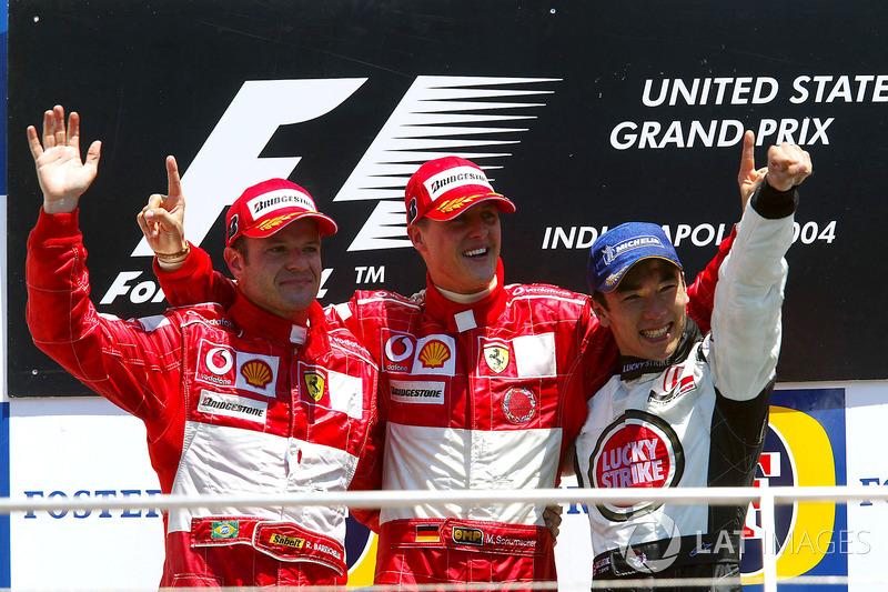 2004: 1. Михаэль Шумахер, 2. Рубенс Баррикелло, 3. Такума Сато