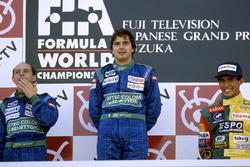 Podyum: Yarış galibi Nelson Piquet, Benetton Ford, 2. Roberto Moreno, 3. Aguri Suzuki, Lola Lamborghini