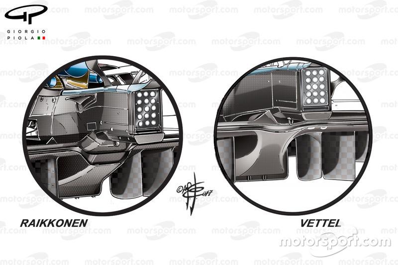 """مقارنة بين الناشر الخلفي لسيارة فيراري """"اس.اف70اتش"""""""