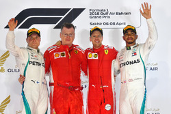 Podium: winner Sebastian Vettel, Ferrari, second place Valtteri Bottas, Mercedes AMG F1, third place Lewis Hamilton, Mercedes AMG F1