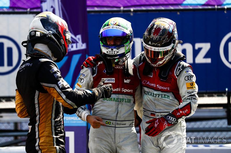 Jean-Eric Vergne, Techeetah, gana, seguido de Lucas di Grassi, Audi Sport ABT Schaeffler, Daniel Abt, Audi Sport ABT Schaeffler