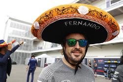 Fernando Alonso, McLaren, wears a sombrero