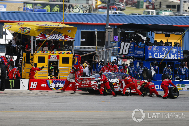 Kyle Busch, Joe Gibbs Racing, Toyota Camry Skittles Red White & Blue, pit stop