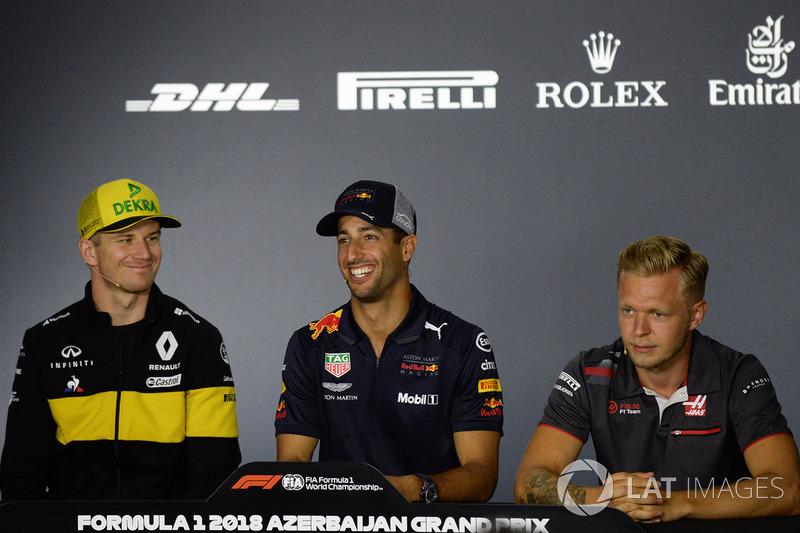 Nico Hulkenberg, Renault Sport F1 Team, Daniel Ricciardo, Red Bull Racing ve Kevin Magnussen, Haas F1