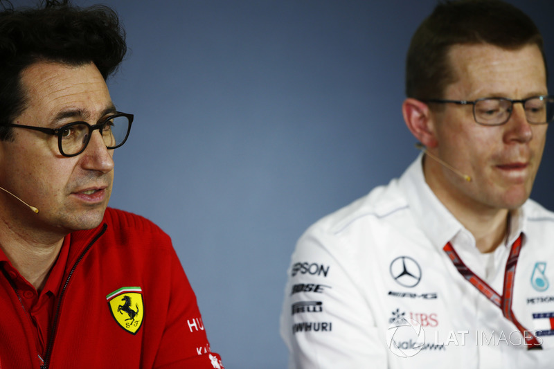 Mattia Binotto, Ferrari Chief Technical Officer, alongside Andy Cowell, Managing Director, HPP, Mercedes AMG, in the Friday team principals' press conference