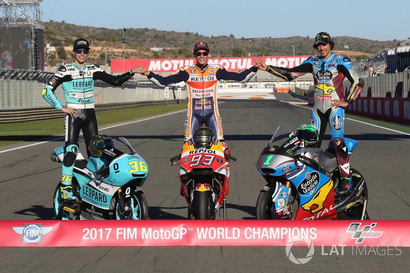 Motorrad-Weltmeister 2017: Joan Mir (Moto3), Marc Marquez (MotoGP), Franco Morbidelli (Moto2)