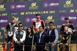 Podium: Race winner Glenn Irwin, Be Wiser Ducati, Ducati 1199RS, second place Peter Hickman, SMT/Bathams by MGM of Macau, BMW S1000RR, third place Michael Rutter, SMT/Bathams by MGM of Macau, BMW S1000RR
