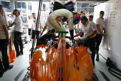 Fernando Alonso, McLaren, climbs into his car