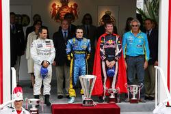 Podium: race winner Fernando Alonso,Renault, second place Juan Pablo Montoya, McLaren, third place David Coulthard, Red Bull Racing, third; Flavio Briatore, Renault F1 Managing Director