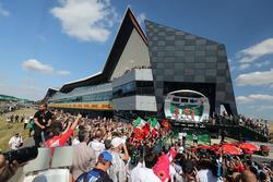 Lewis Hamilton, Mercedes-AMG F1,Claudio Albertini, Ferrari Engineer, Sebastian Vettel, Ferrari and Kimi Raikkonen, Ferrari celebrate on the podium