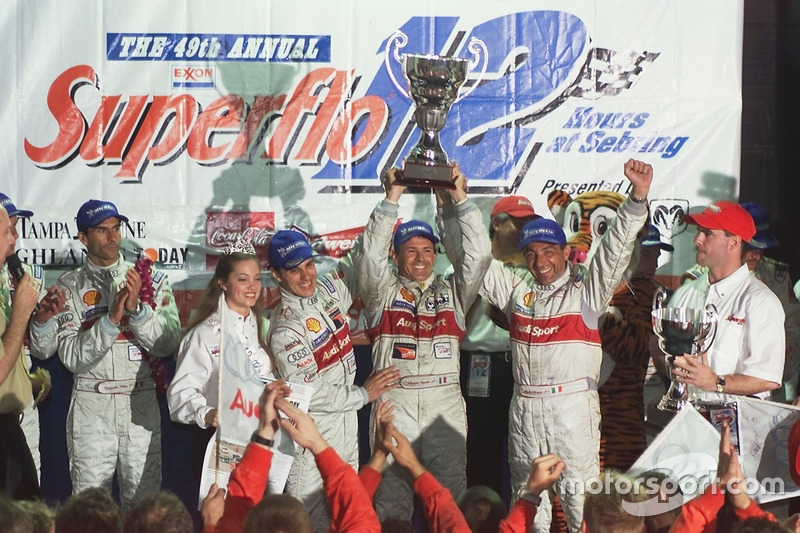 Podium: winners Laurent Aiello, Rinaldo Capello, Michele Alboreto, Joest Racing Audi R8