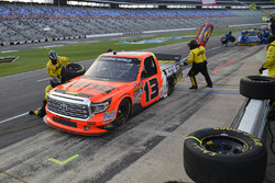 Cody Coughlin, ThorSport Racing Toyota, makes a pit stop