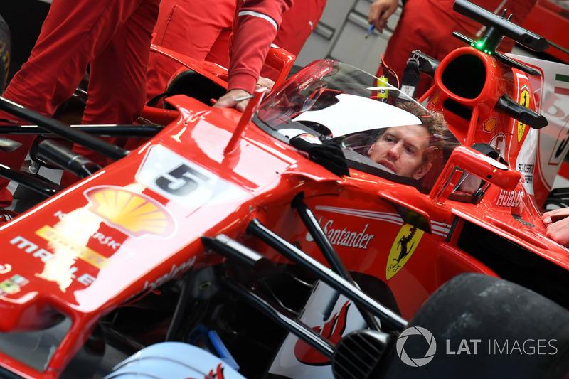Sebastian Vettel, Ferrari SF70-H, kalkan tarzı kokpit koruması