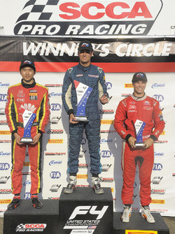 Podium: race winner Skylar Robinson, second place Jackie Ding, third place Austin Kaszuba