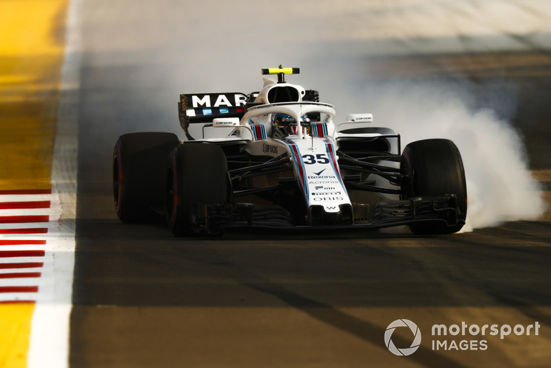 Sergey Sirotkin, Williams FW41, bloque ses roues au freinage