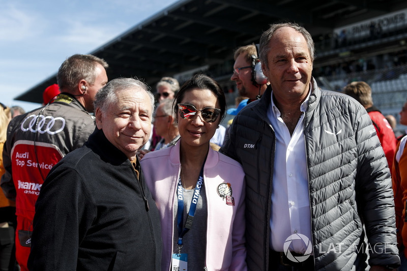 Jean Todt, FIA President with wife Michelle Yeoh and Gerhard Berger, ITR Chairman