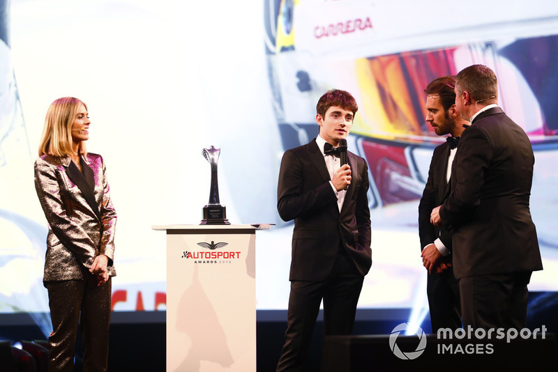 Rookie of the Year winner Charles Leclerc on stage