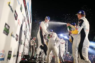 #911 Porsche Team North America Porsche 911 RSR, GTLM: Patrick Pilet, Nick Tandy, Frederic Makowiecki, #4 Corvette Racing Chevrolet Corvette C7.R, GTLM: Oliver Gavin, Tommy Milner, Marcel Fassler, Champange Spray