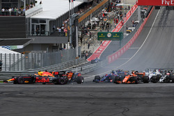 Max Verstappen, Red Bull Racing RB13 collides at the start of the race