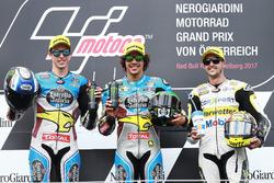 Podium: second place Alex Marquez, Marc VDS, Race winner Franco Morbidelli, Marc VDS, third place Thomas Luthi, CarXpert Interwetten