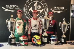 David Vidales, Danny Keirle y Julho Valtanen, podio Mundial de karting CIK-FIA