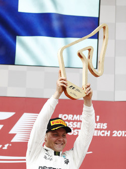 Valtteri Bottas, Mercedes AMG F1, raises his winner's trophy on the podium