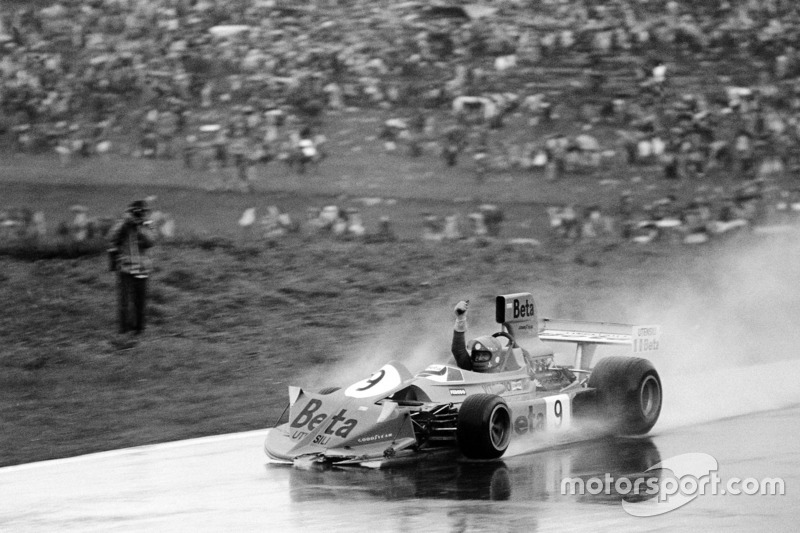 Vittorio Brambilla, March 751-Ford, celebrates after crashing after the finish