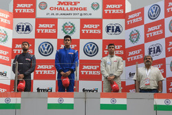 Podium: race winner Nayan Chatterjee, second place Anindith Reddy, third place Ananth Shanmugam