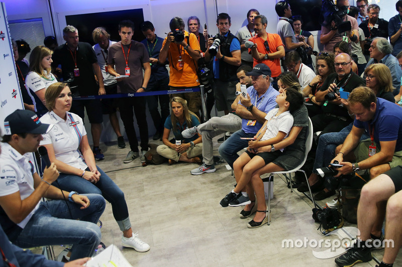 (L to R): Felipe Massa, Williams, announces his retirement from F1 at the end of the season, alongside Claire Williams, Williams Deputy Team Principal, with his family watching on in the front row