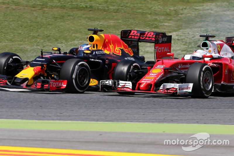 Daniel Ricciardo, Red Bull Racing und Sebastian Vettel, Scuderia Ferrari