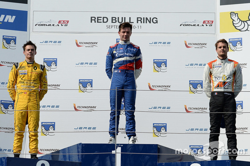 Podium: race winner Matthieu Vaxivière, SMP Racing, second place Louis Deletraz, Fortec Motorsports, third place Tom Dillmann, AVF