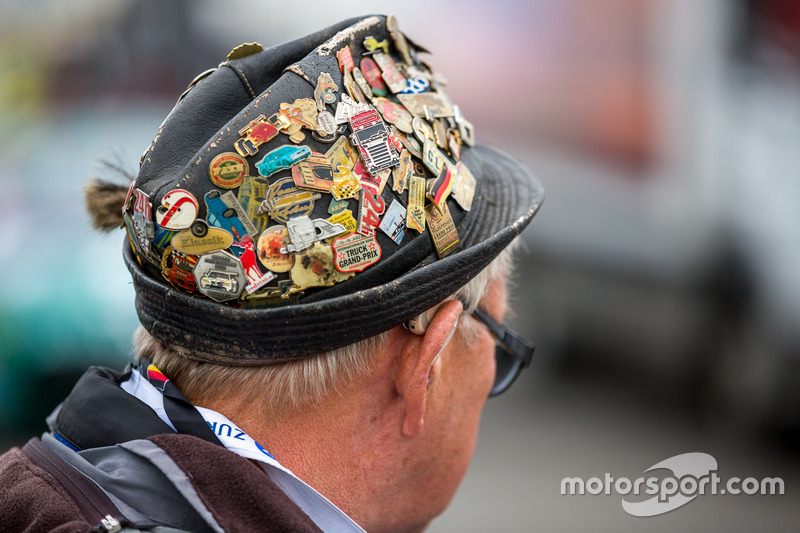 German hat with racing pins