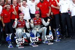 Lucas di Grassi, Audi Sport ABT Schaeffler., Daniel Abt, Audi Sport ABT Schaeffler. Celebrate with Audi team