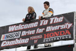 2017 NASCAR Drive for Diversity Combine participants Madeline Crane and Fabian Welter look on