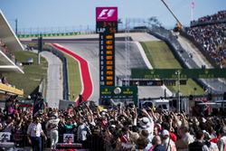 Race winner Lewis Hamilton, Mercedes AMG F1, celebrates in Parc Ferme