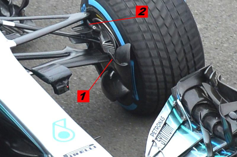 Écope de frein et suspension avant de la Mercedes AMG F1 W09