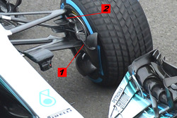 Mercedes AMG F1 W09 brake duct and suspension detail