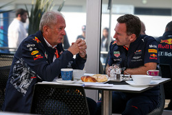 Dr Helmut Marko, Red Bull Motorsport Consultant en Christian Horner, Red Bull Racing Team Principal