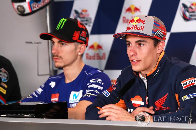 Marc Marquez, Repsol Honda Team, Maverick Viñales, Yamaha Factory Racing lors de la conférence de presse